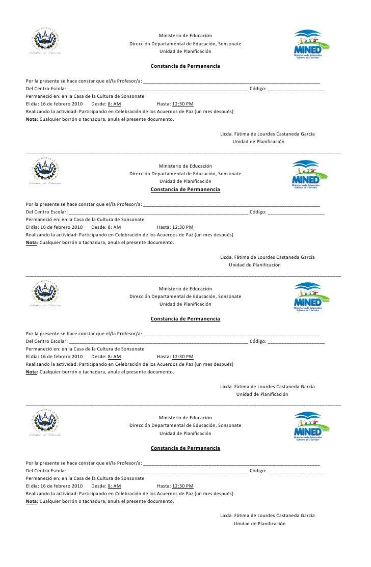 Ministerio de Educación                                          Dirección Departamental de Educación, Sonsonate          ...