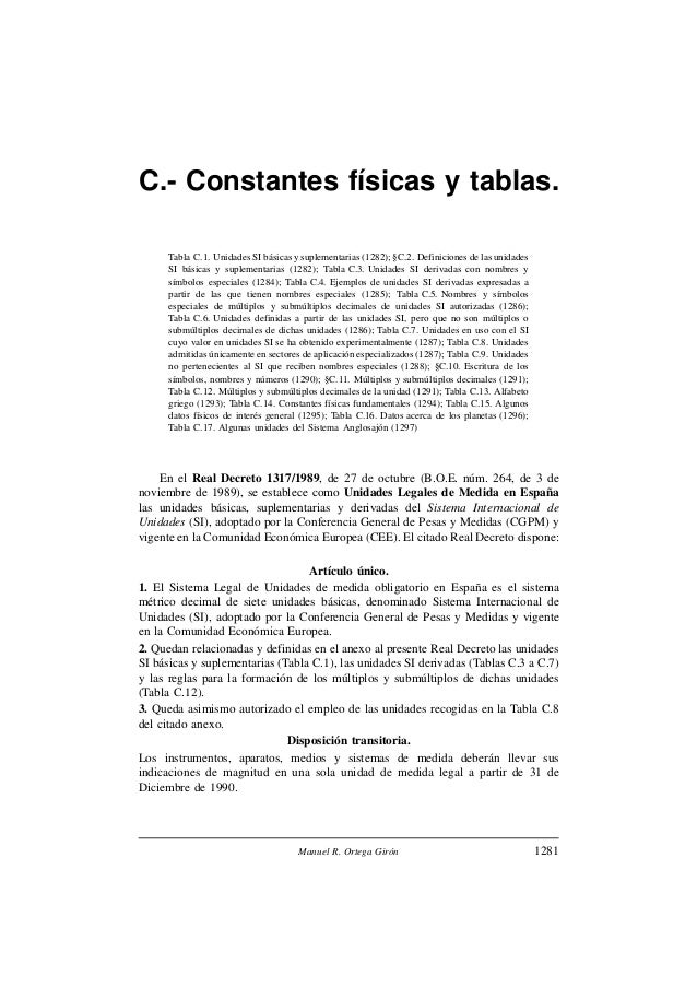 C.- Constantes físicas y tablas.Tabla C.1. Unidades SI básicas y suplementarias (1282); §C.2. Definiciones de las unidades...