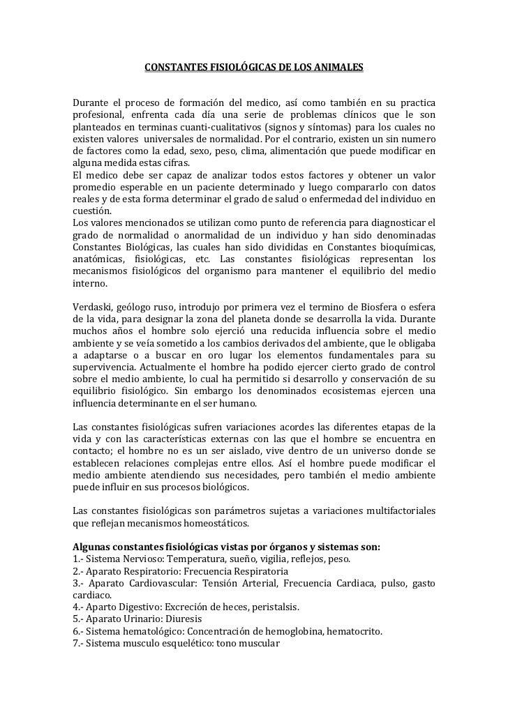 CONSTANTES FISIOLÓGICAS DE LOS ANIMALESDurante el proceso de formación del medico, así como también en su practicaprofesio...