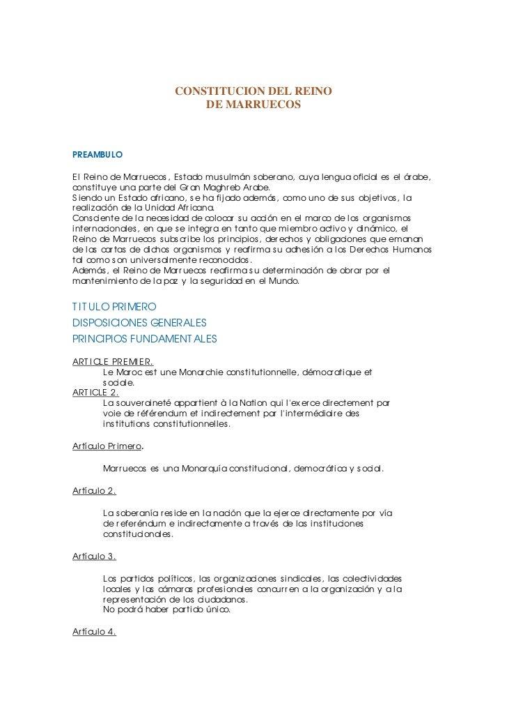 CONSTITUCION DEL REINO                              DE MARRUECOSPREAMBUL OEl Reino de Mar r uecos , Es tado mus ulmán s ob...