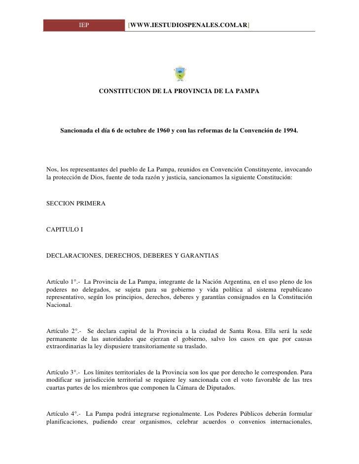 IEP                [WWW.IESTUDIOSPENALES.COM.AR]                        CONSTITUCION DE LA PROVINCIA DE LA PAMPA          ...