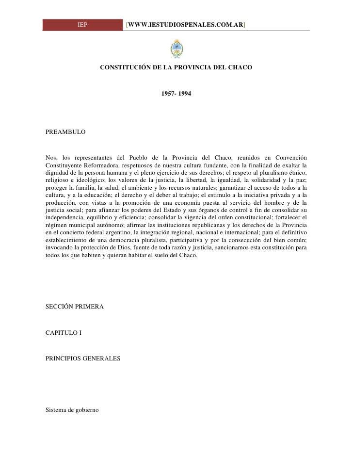Constitución de la Provincia del Chaco www.iestudiospenales.com.ar