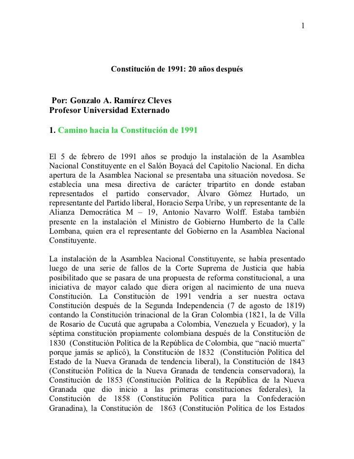 Constitución de 1991 20 años después