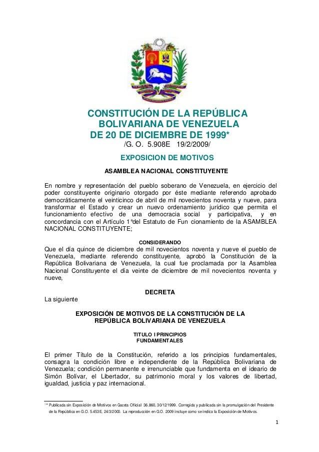 CONSTITUCIÓN DE LA REPÚBLICA                              BOLIVARIANA DE VENEZUELA                            DE 20 DE DIC...