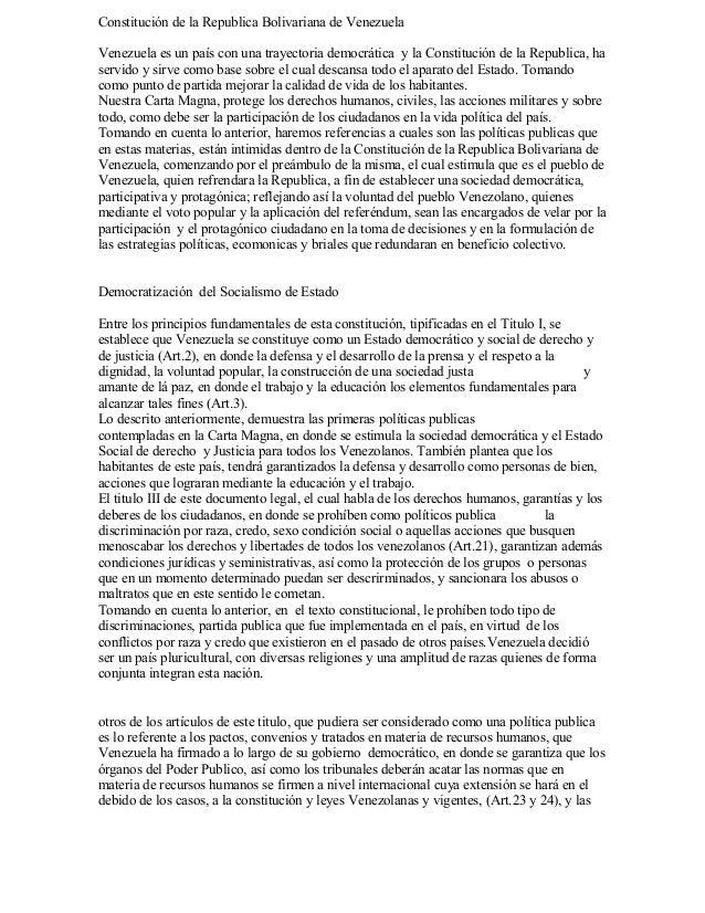 Constitución de la Republica Bolivariana de VenezuelaVenezuela es un país con una trayectoria democrática y la Constitució...