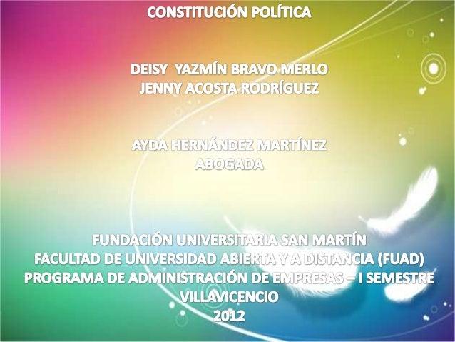 Antecedentes de la Constitución Nacional de 1991La Constitución anterior, era del año 1886, durante su vigencia fue objeto...