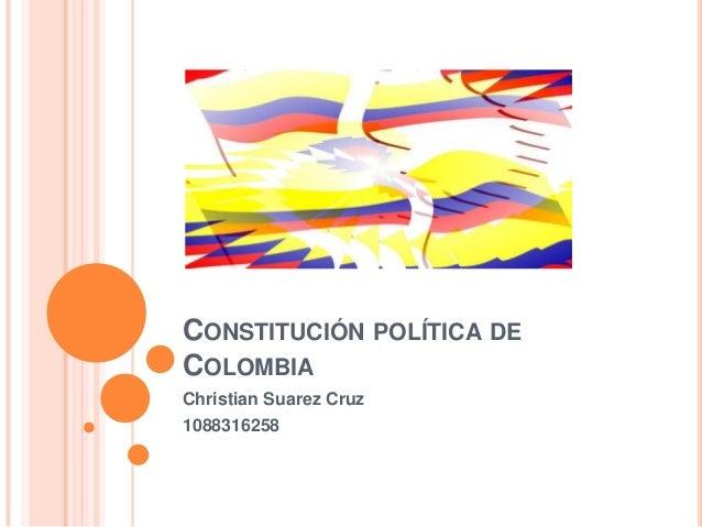 CONSTITUCIÓN POLÍTICA DECOLOMBIAChristian Suarez Cruz1088316258