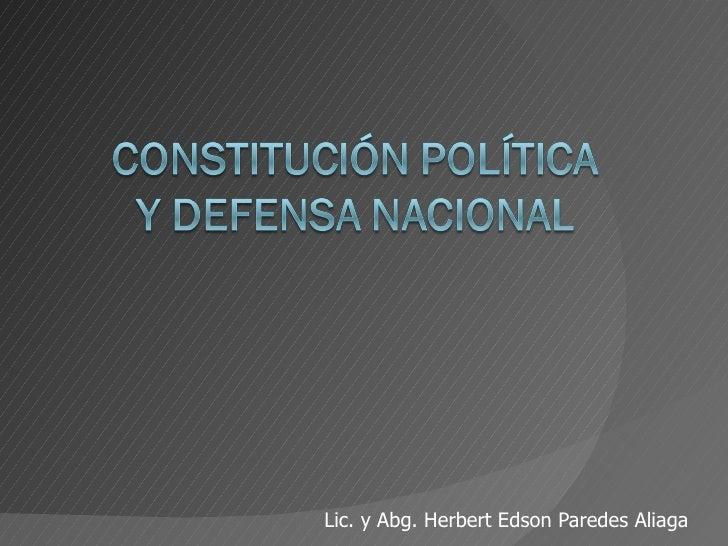 Constitución política y defensa nacional i