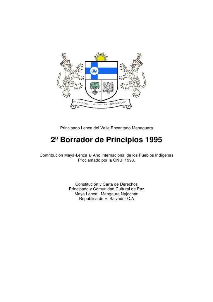 Principado Lenca del Valle Encantado Managuara        2º Borrador de Principios 1995 Contribución Maya-Lenca al Año Intern...