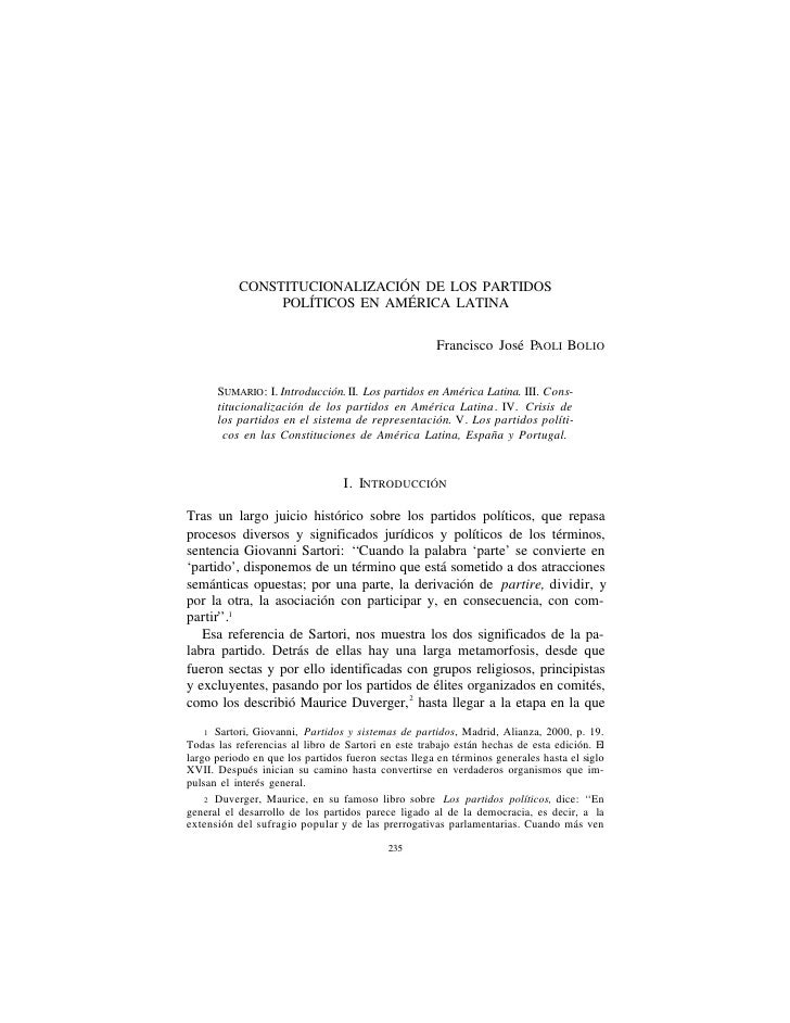 Constitucionalización de los Partidos Políticos en América Latina