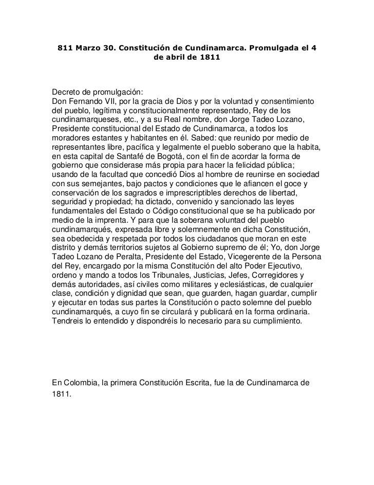 811 Marzo 30. Constitución de Cundinamarca. Promulgada el 4 de abril de 1811<br />Decreto de promulgación:Don Fernando VII...