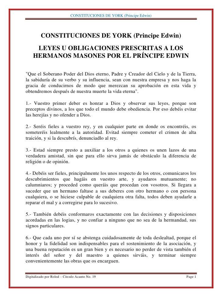 CONSTITUCIONES DE YORK (Principe Edwin)         CONSTITUCIONES DE YORK (Principe Edwin)     LEYES U OBLIGACIONES PRESCRITA...