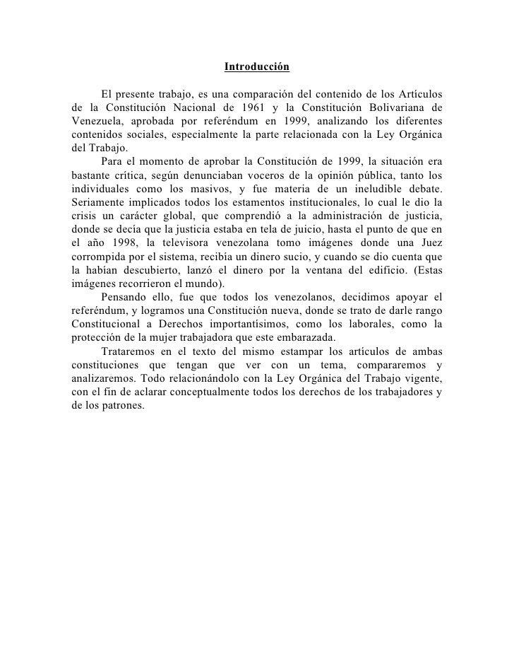 Introducción         El presente trabajo, es una comparación del contenido de los Artículos de la Constitución Nacional de...