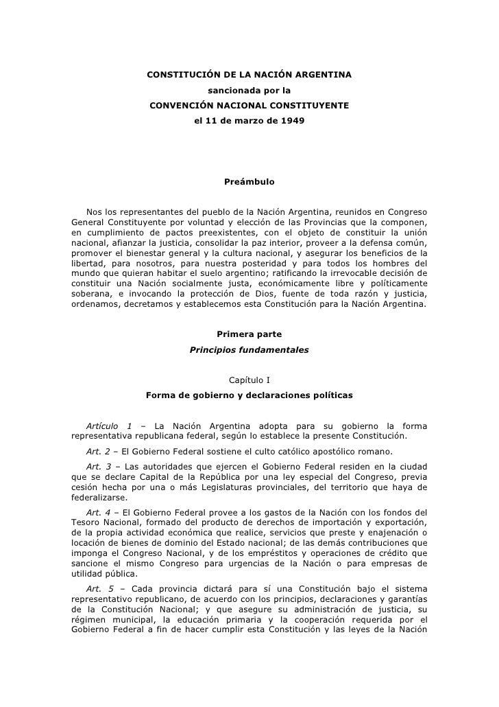 CONSTITUCIÓN DE LA NACIÓN ARGENTINA                                 sancionada por la                   CONVENCIÓN NACIONA...