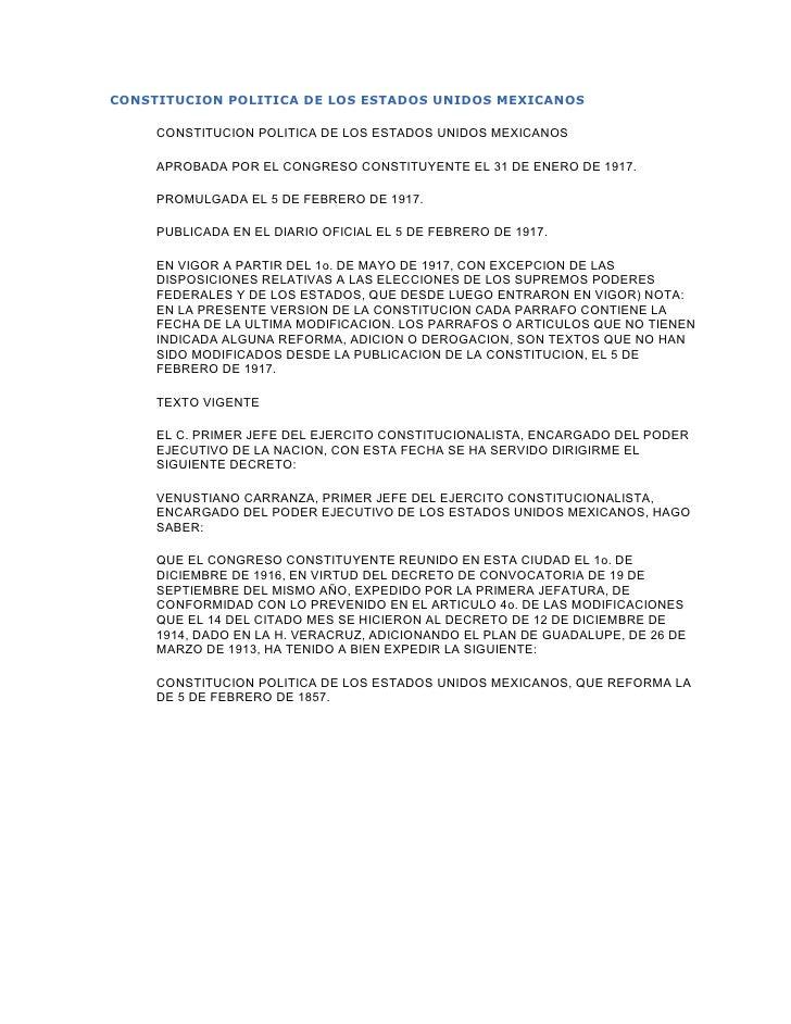 CONSTITUCION POLITICA DE LOS ESTADOS UNIDOS MEXICANOS     CONSTITUCION POLITICA DE LOS ESTADOS UNIDOS MEXICANOS     APROBA...