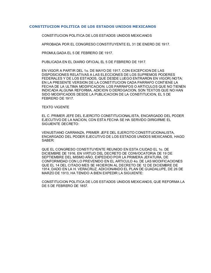 Constitucionpoliticadelosestadosunidosmexicanos 090320220834-phpapp01