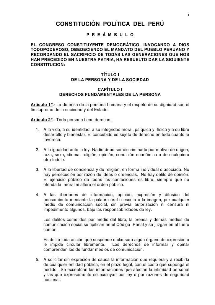 CONSTITUCIÓN  POLÍTICA  DEL  PERÚ<br />P  R  E  Á  M  B  U  L  O<br />EL CONGRESO CONSTITUYENTE DEMOCRÁTICO, INVOCANDO A D...