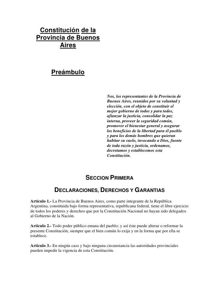 Constitución de la    Provincia de Buenos           Aires                Preámbulo                                        ...