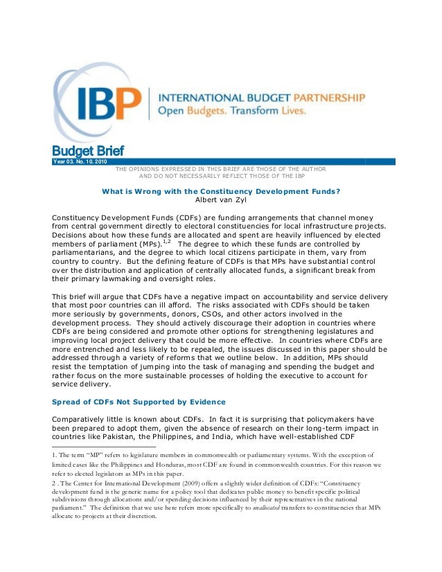 Budget Brief Year 03. No. 10. 2010 d THE OPINIONS EXPRESSED IN THIS BRIEF ARE THOSE OF THE AUTHOR AND DO NOT NECESSARILY R...
