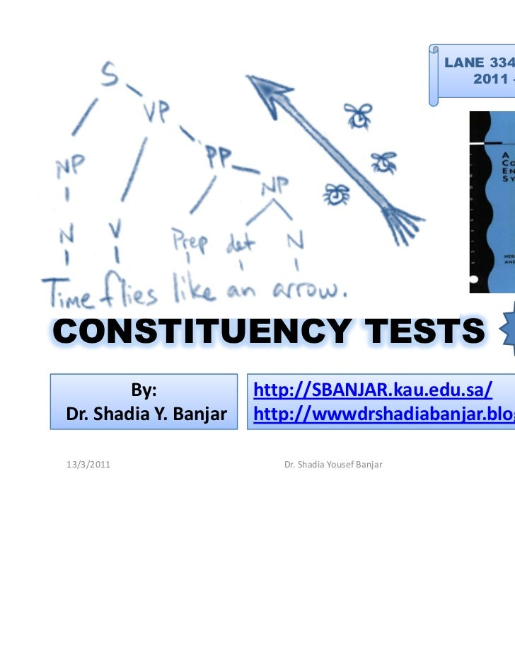 LANE 334 -EA: Syntax                                                        2011 – Term 2CONSTITUENCY TESTS               ...