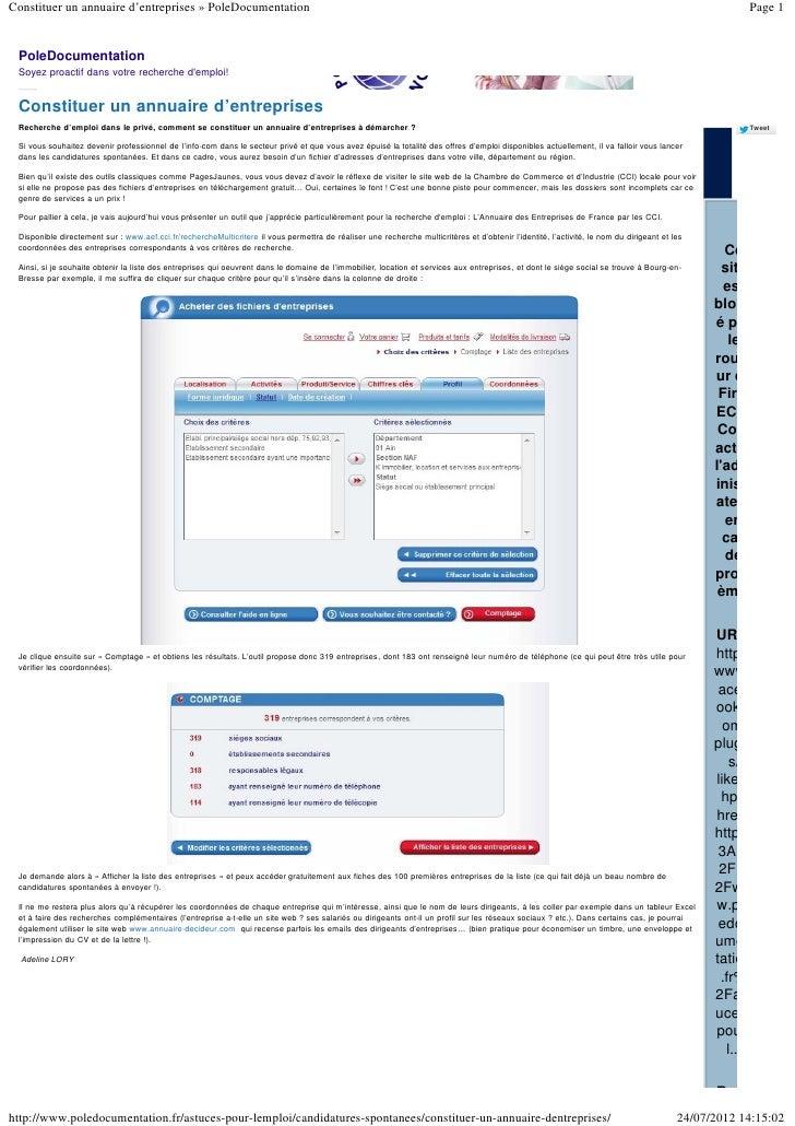 Constituer un annuaire d'entreprises » PoleDocumentation                                                                  ...