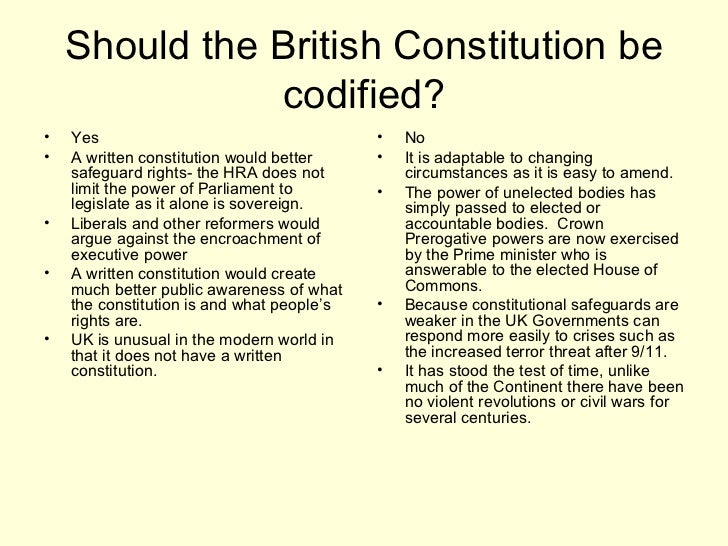 should britain have a codified constitution essay A written constitution would circumscribe the boundaries of the british state and its relationship with europe and the world it would become a symbol and expression of national identity today and a source of national pride the particular arguments 1 the united kingdom does not have a constitution at all.