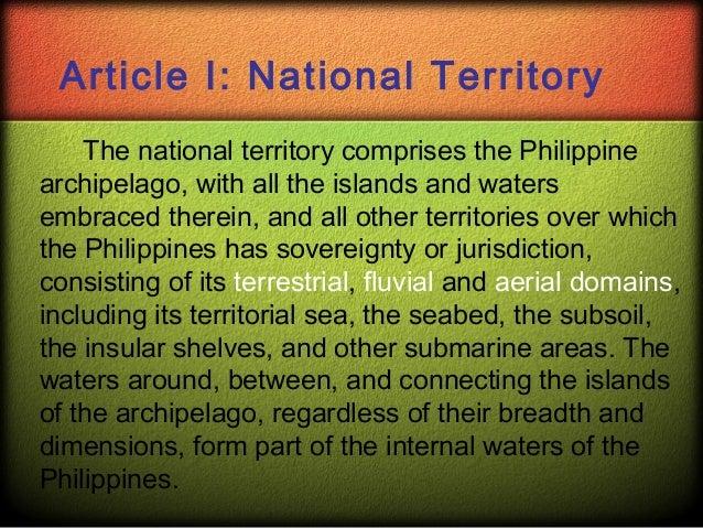 national territory of the philippines essay Scarborough shoal disputed island other names: scarborough reef bajo de masinloc democracy reef huangyan dao minzhu jiao panatag shoal panacot shoal.