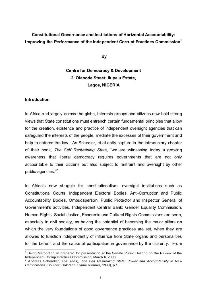 Constitutional Governance and Institutions of Horizontal Accountability:Improving the Performance of the Independent Corru...