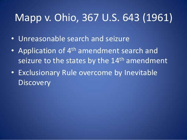 mapp v ohio 367 u s 1081 Mapp v ohio, 367 us 643 (1961), was a landmark case in criminal procedure,  in which the  citations, 367 us 643 (more) 81 s ct 1684 6 l ed 2d 1081  1961 us lexis 812 86 ohio l abs 513 16 ohio op 2d 384 84 alr2d 933.