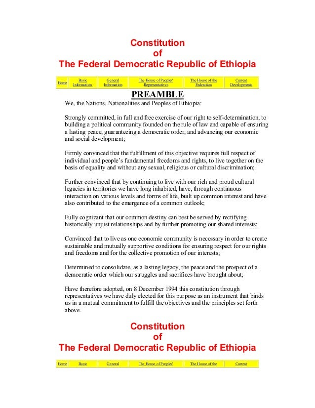 Constitution of The Federal Democratic Republic of Ethiopia Home Basic Information General Information The House of People...