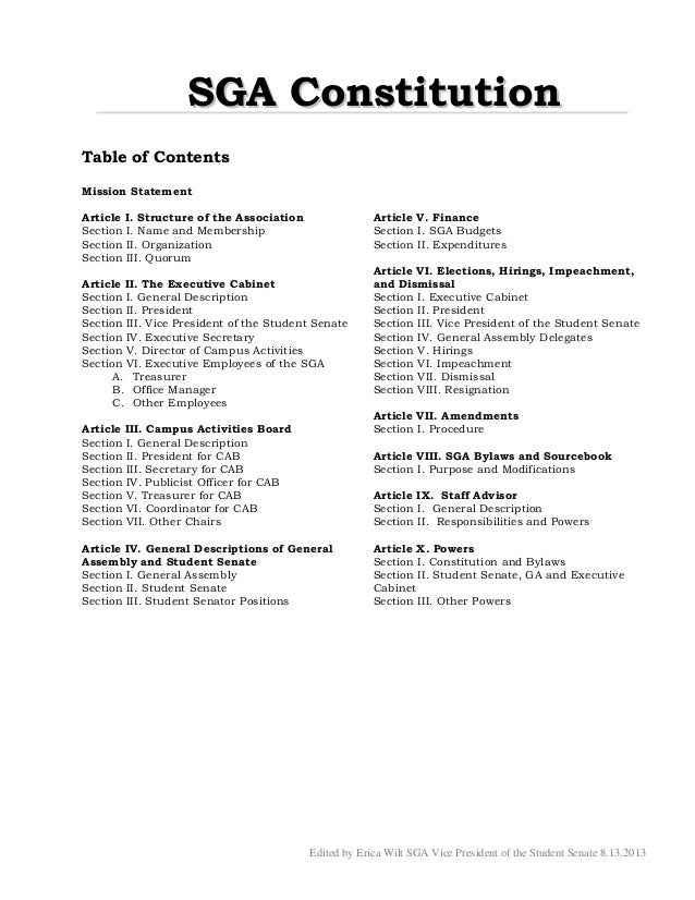 Edited by Erica Wilt SGA Vice President of the Student Senate 8.13.2013 SSGGAA CCoonnssttiittuuttiioonn Table of Contents ...