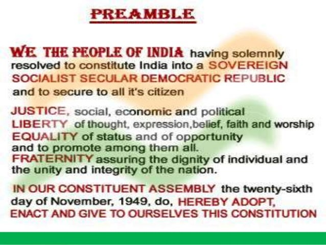 write an essay on the preamble of indian constitution The american constitution was the first to begin with a preamble the preamble  refers to the introduction or preface to the constitution.