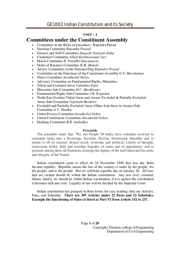 GE1002 Indian Constitution and its Society                                        UNIT – ICommittees under the Constituent...