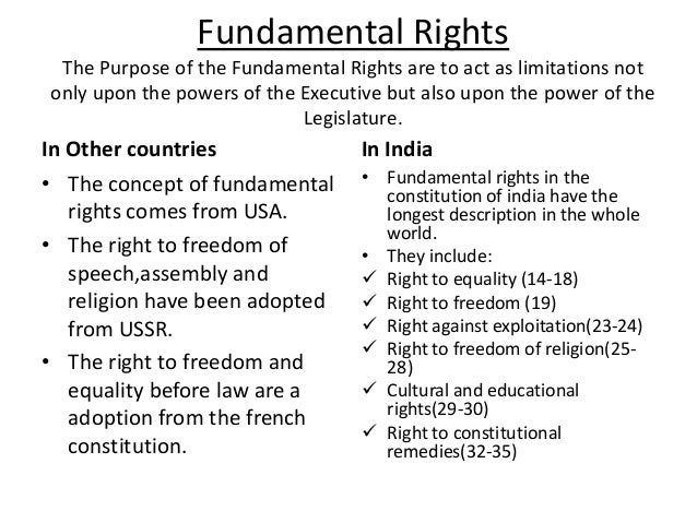 fundamental rights in india There are 6 fundamental rights of india right to equality, right to freedom, right against exploitation, right to freedom of religion, right to constitutional remedies.