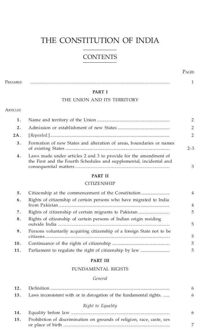 THE CONSTITUTION OF INDIA CONTENTS PAGES PREAMBLE  ..........................................................................