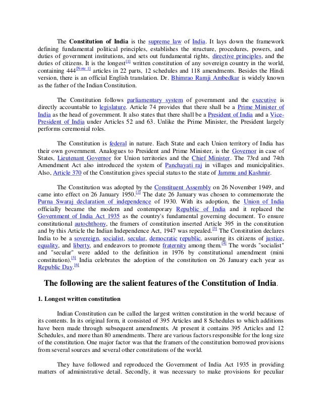 Salient Features Of Indian Constitution Essay Prompts - image 4