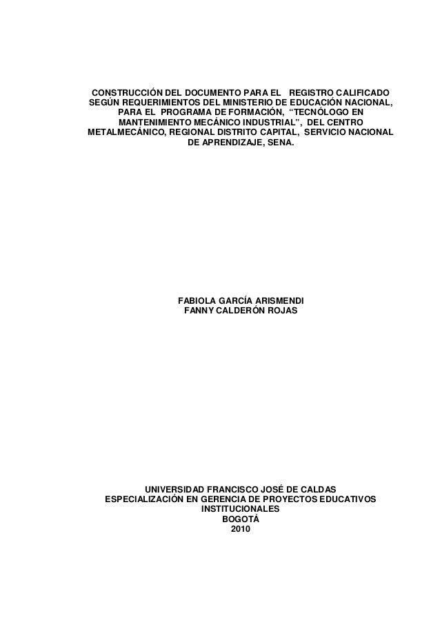 CONSTRUCCIÓN DEL DOCUMENTO PARA EL REGISTRO CALIFICADO SEGÚN REQUERIMIENTOS DEL MINISTERIO DE EDUCACIÓN NACIONAL, PARA EL ...