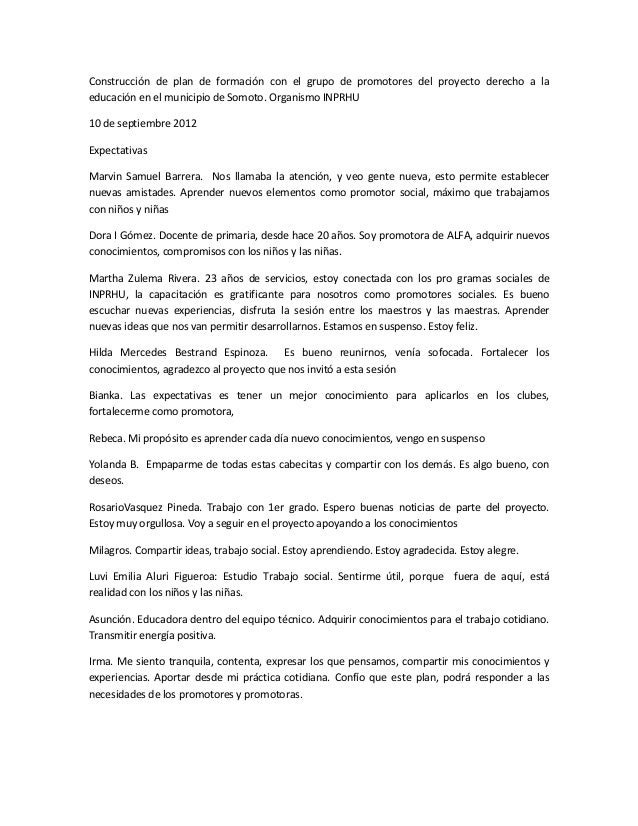 Construcción de plan de formación con el grupo de promotores del proyecto derecho a la educación en el municipio de Somoto...