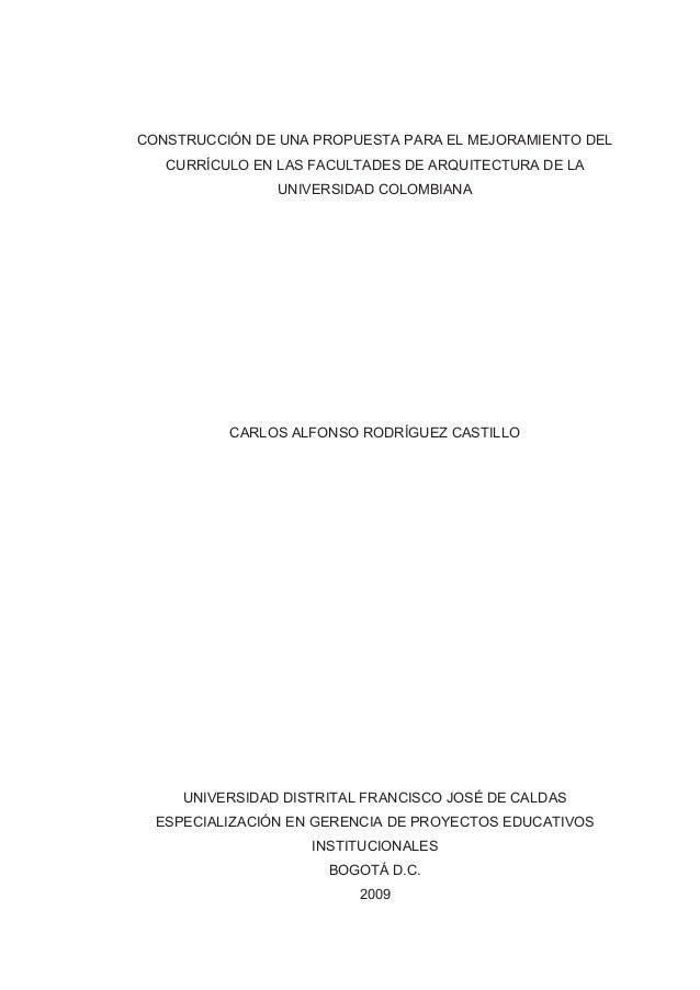 Construcción de una propuesta para el mejoramiento del currículo en las facultades de arquitectur
