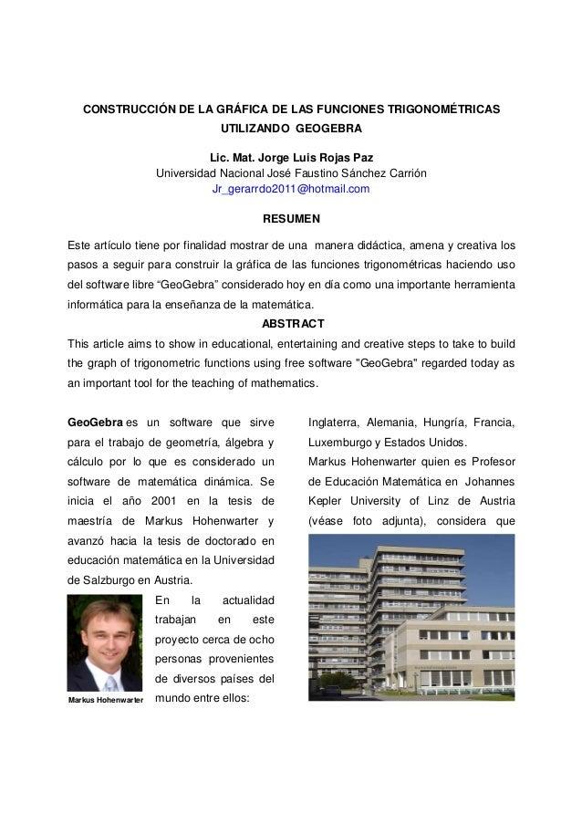 CONSTRUCCIÓN DE LA GRÁFICA DE LAS FUNCIONES TRIGONOMÉTRICAS                                 UTILIZANDO GEOGEBRA           ...
