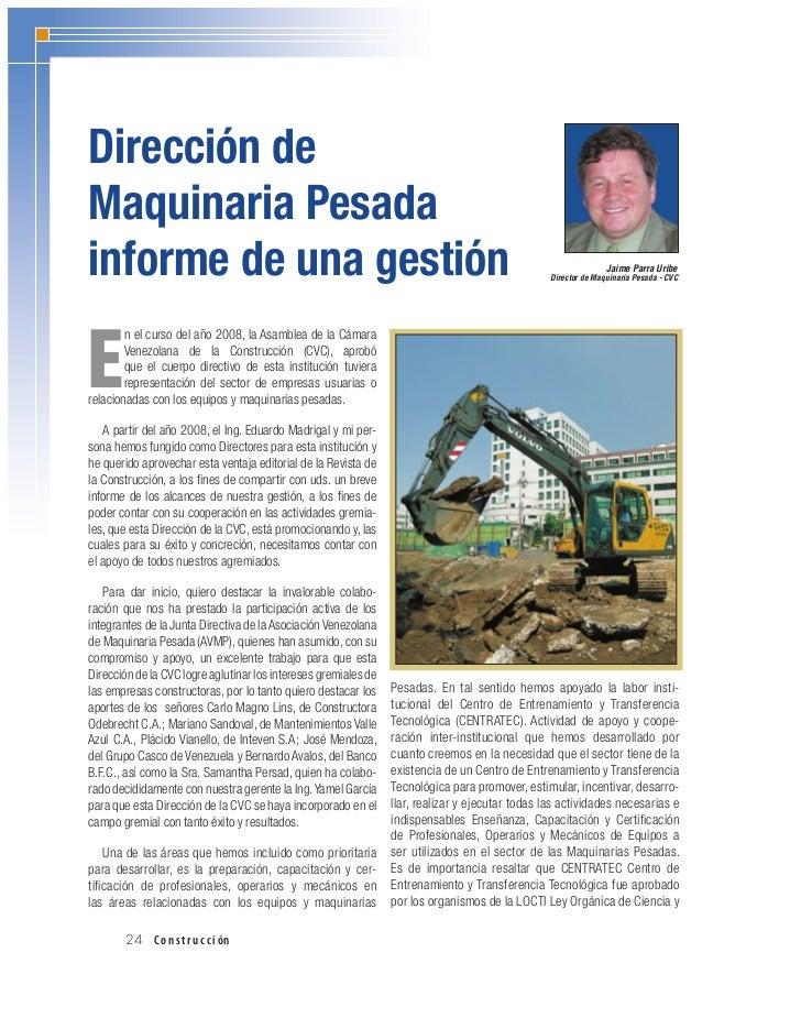 Dirección deMaquinaria Pesadainforme de una gestión                                                                       ...