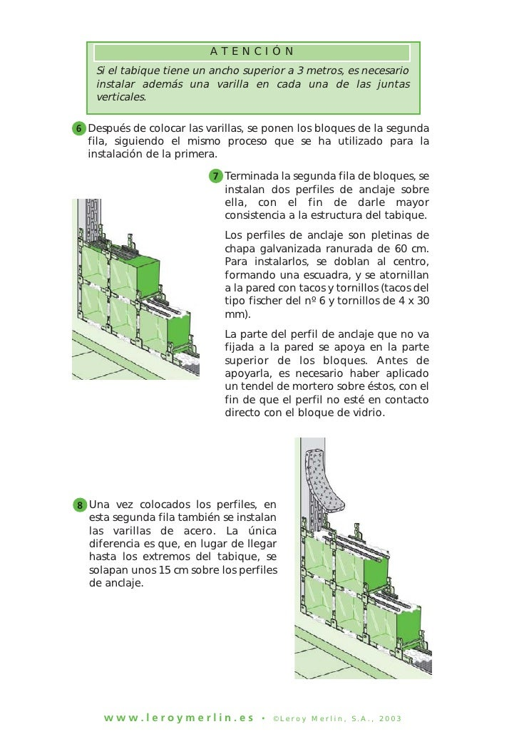 Construccion de tabiques con ladrillos de vidrio 2 - Como colocar ladrillos de vidrio ...