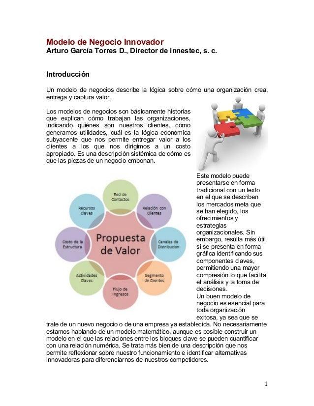 Modelo de Negocio Innovador Arturo García Torres D., Director de innestec, s. c. Introducción Un modelo de negocios des...