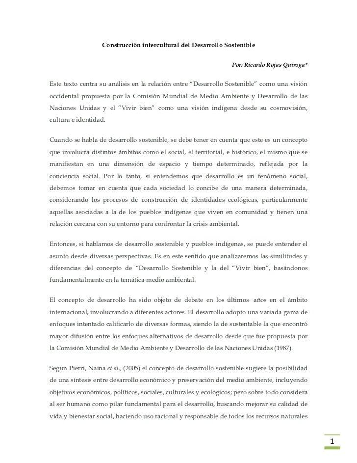 Construcción intercultural del Desarrollo Sostenible                                                                  Por:...