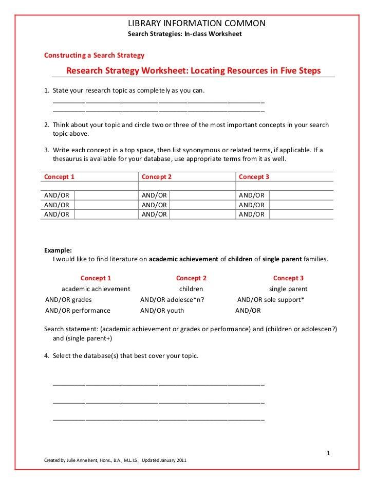 Search Strategies: Worksheet (In-Class)