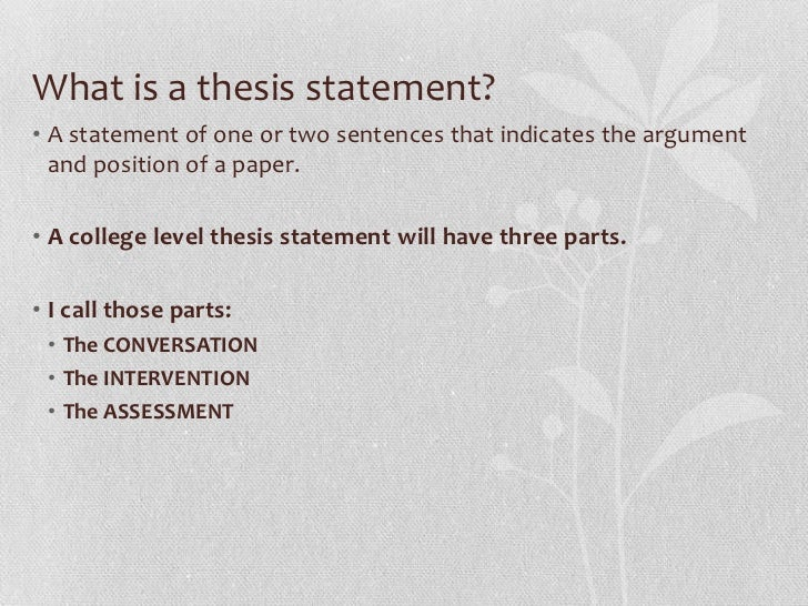 The Thesis Statement - Capital Community College