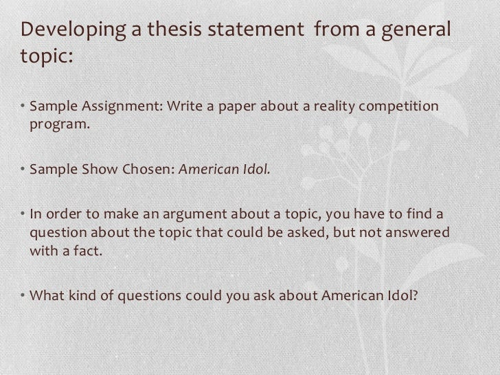 thesis statement scientific method