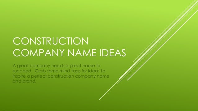 Construction business name ideas, business opportunities in ...