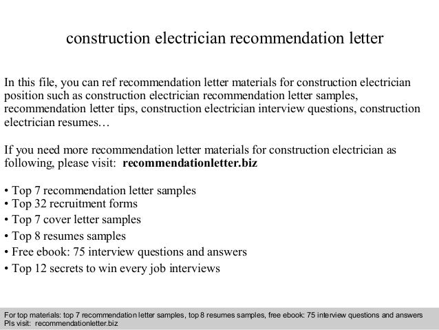Construction Electrician Recommendation Letter