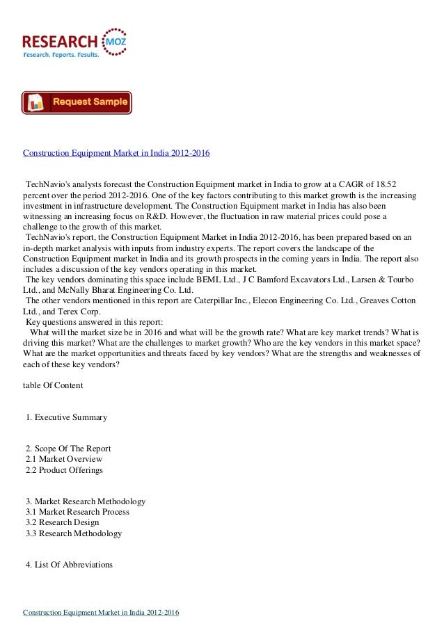 Construction Equipment Market in India 2012-2016 TechNavio's analysts forecast the Construction Equipment market in India ...